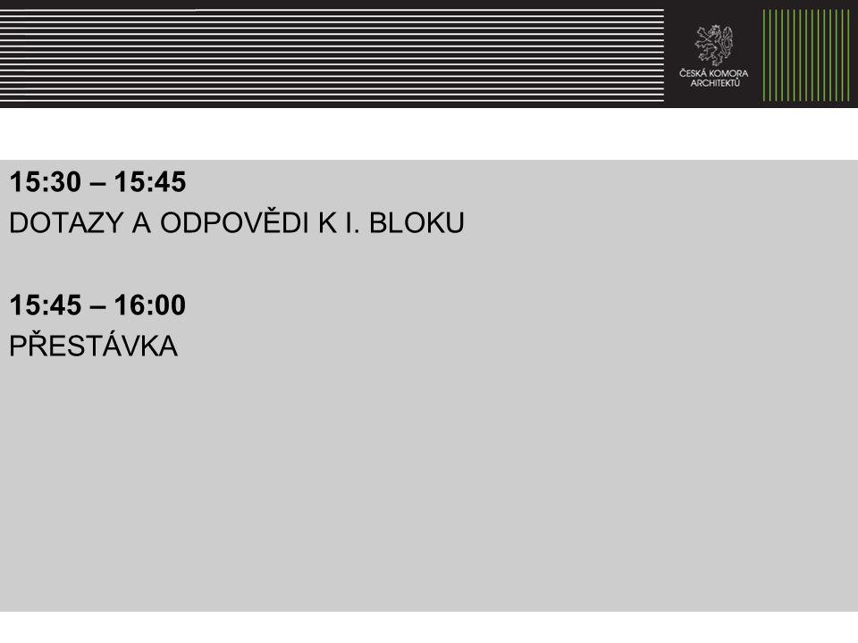 16:00 – 16:30 II.BLOK /přednášejí Petr Všetečka a Jiří Plos, alt.