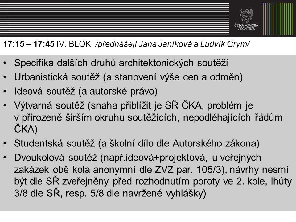 17:15 – 17:45 IV. BLOK /přednášejí Jana Janíková a Ludvík Grym/ Specifika dalších druhů architektonických soutěží Urbanistická soutěž (a stanovení výš