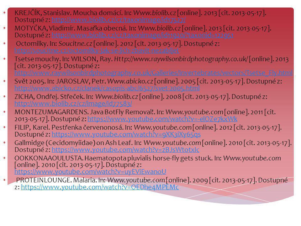KREJČÍK, Stanislav. Moucha domácí. In: Www.biolib.cz [online]. 2013 [cit. 2013-05-17]. Dostupné z: http://www.biolib.cz/cz/taxonimage/id17527/http://w