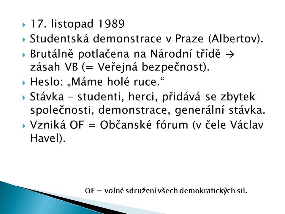 """ 17. listopad 1989  Studentská demonstrace v Praze (Albertov).  Brutálně potlačena na Národní třídě → zásah VB (= Veřejná bezpečnost).  Heslo: """"Má"""