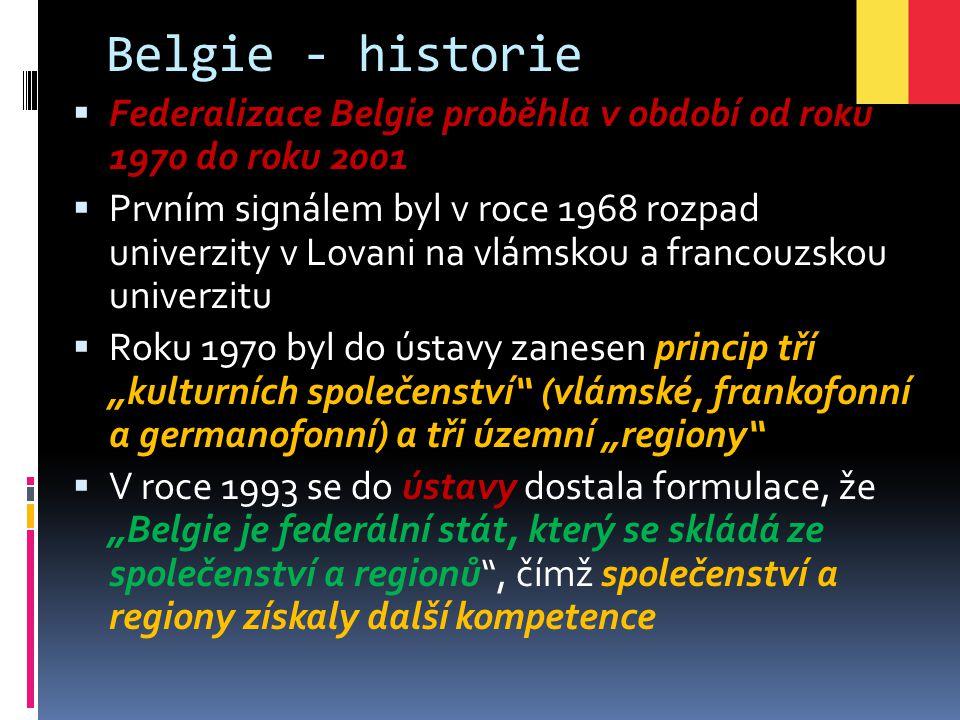 Belgie - historie  Federalizace Belgie proběhla v období od roku 1970 do roku 2001  Prvním signálem byl v roce 1968 rozpad univerzity v Lovani na vl
