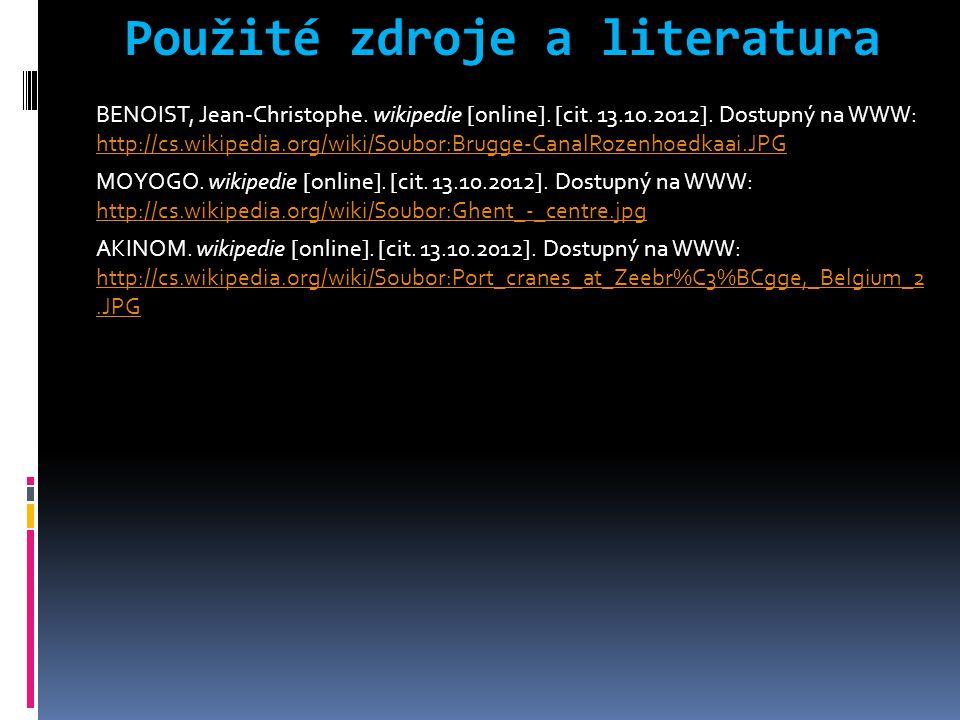 Použité zdroje a literatura BENOIST, Jean-Christophe. wikipedie [online]. [cit. 13.10.2012]. Dostupný na WWW: http://cs.wikipedia.org/wiki/Soubor:Brug