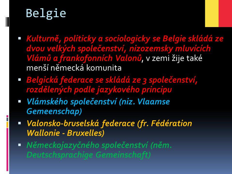 Belgie  Kulturně, politicky a sociologicky se Belgie skládá ze dvou velkých společenství, nizozemsky mluvících Vlámů a frankofonních Valonů, v zemi ž