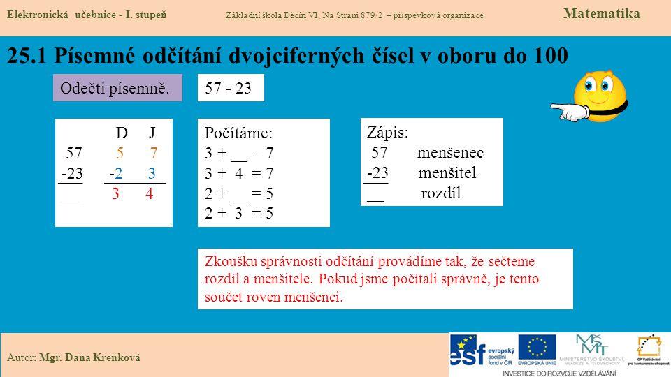 25.1 Písemné odčítání dvojciferných čísel v oboru do 100 Elektronická učebnice - I.
