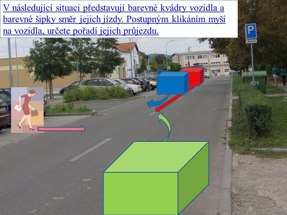 V následující situaci představují barevné kvádry vozidla a barevné šipky směr jejich jízdy. Postupným klikáním myší na vozidla, určete pořadí jejich p