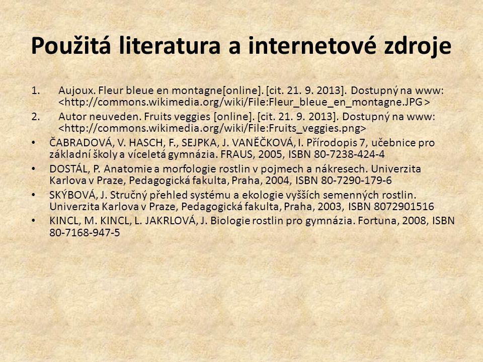 Použitá literatura a internetové zdroje 1.Aujoux. Fleur bleue en montagne[online]. [cit. 21. 9. 2013]. Dostupný na www: 2.Autor neuveden. Fruits veggi