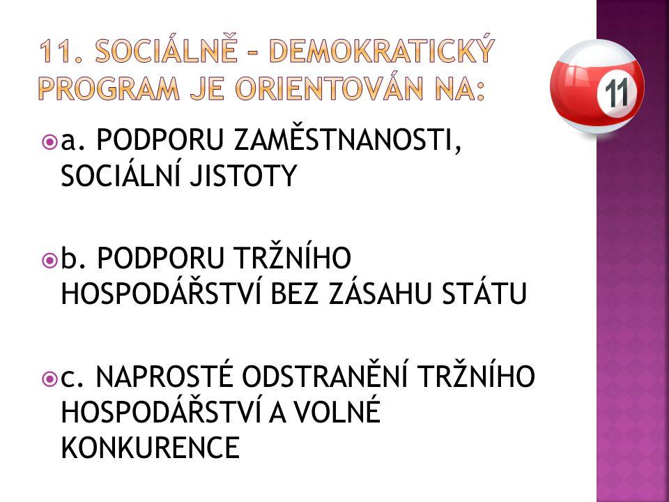  a. PODPORU ZAMĚSTNANOSTI, SOCIÁLNÍ JISTOTY  b.