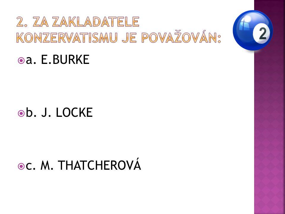  a. E.BURKE  b. J. LOCKE  c. M. THATCHEROVÁ