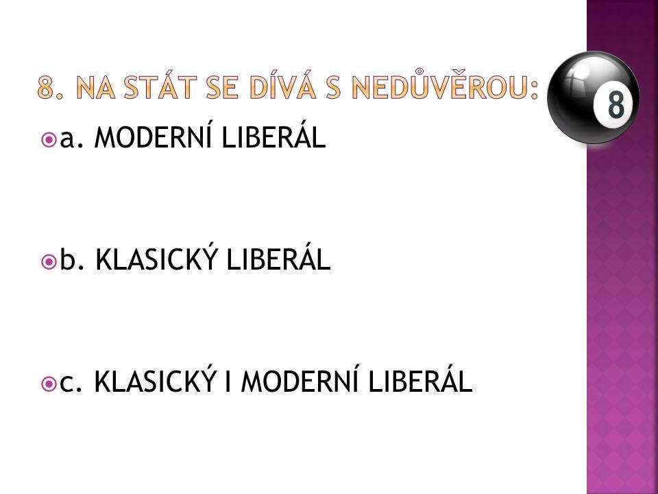  a. MODERNÍ LIBERÁL  b. KLASICKÝ LIBERÁL  c. KLASICKÝ I MODERNÍ LIBERÁL