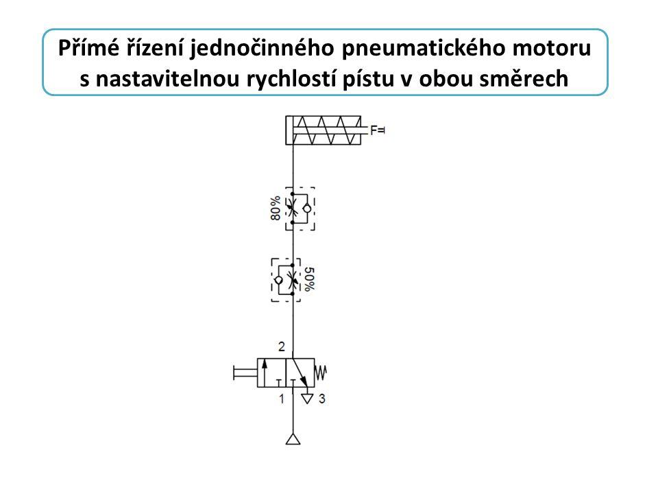 Přímé řízení jednočinného pneumatického motoru s nastavitelnou rychlostí pístu v obou směrech