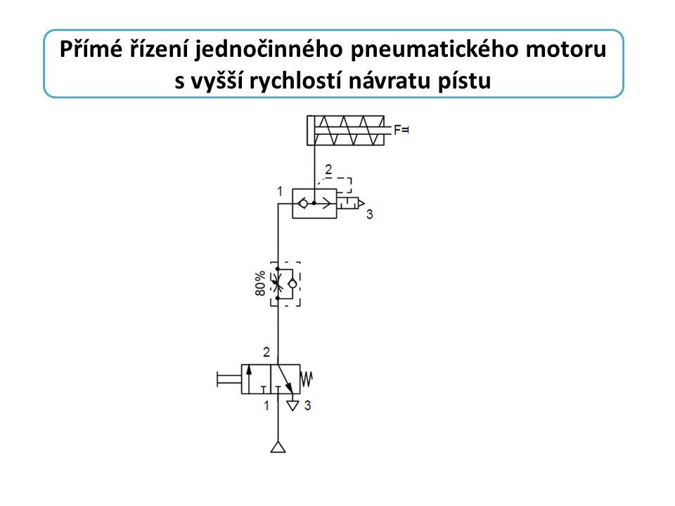 Přímé řízení jednočinného pneumatického motoru s vyšší rychlostí návratu pístu
