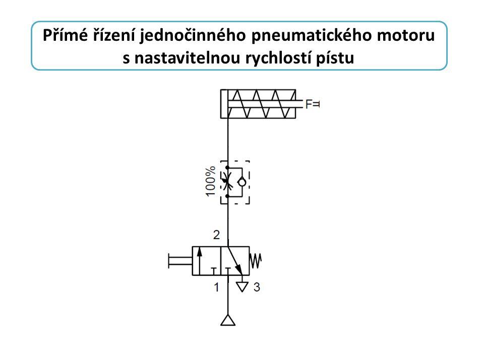 Přímé řízení jednočinného pneumatického motoru s nastavitelnou rychlostí pístu
