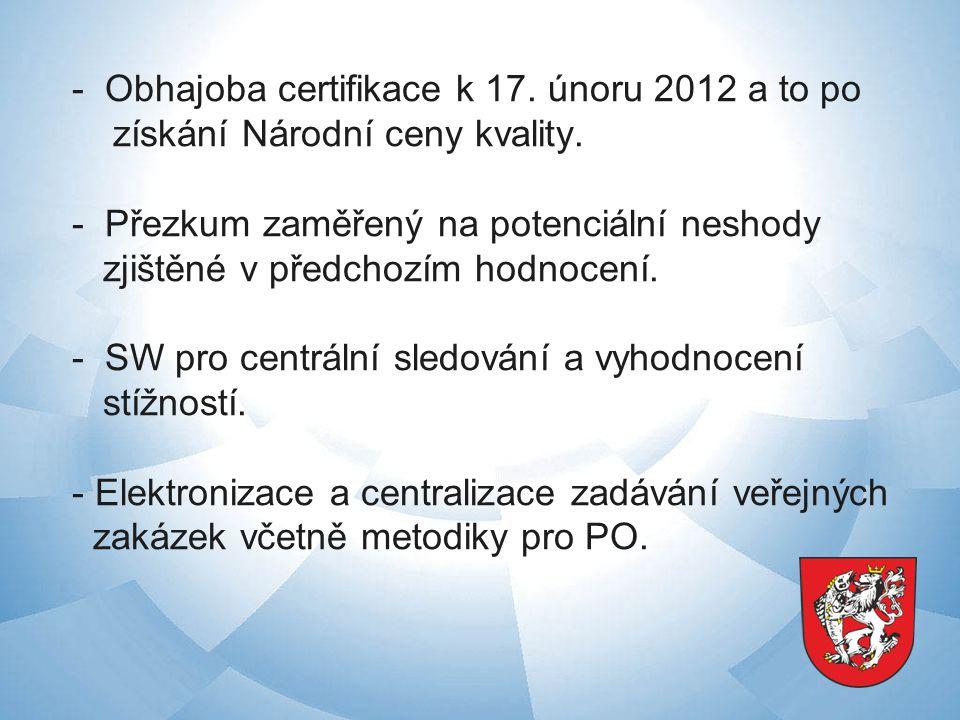 - Obhajoba certifikace k 17. únoru 2012 a to po získání Národní ceny kvality.