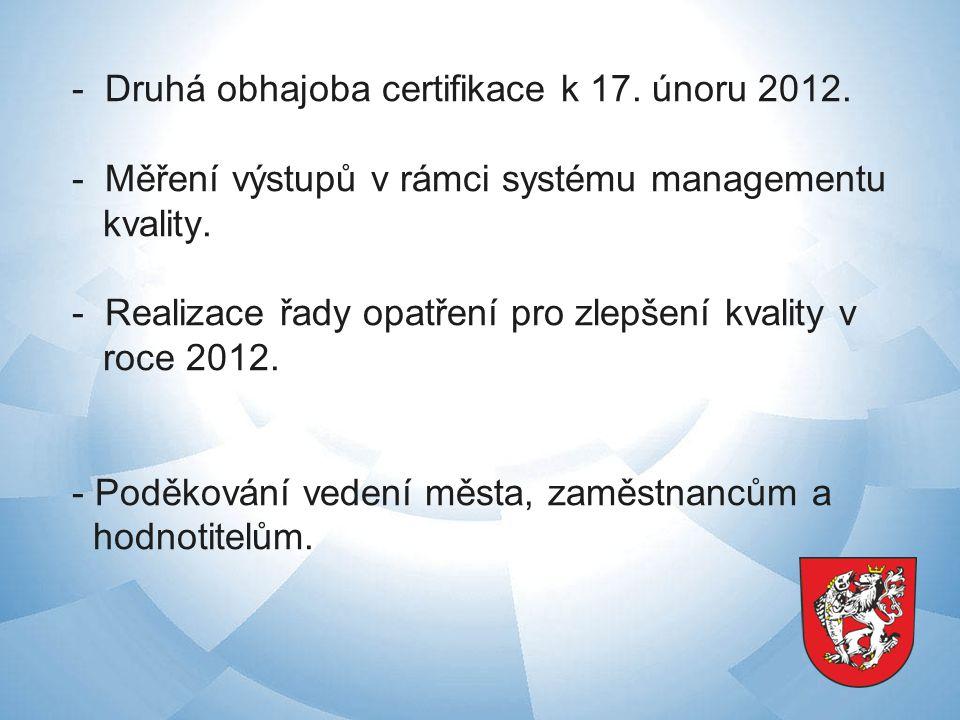- Druhá obhajoba certifikace k 17. únoru 2012.