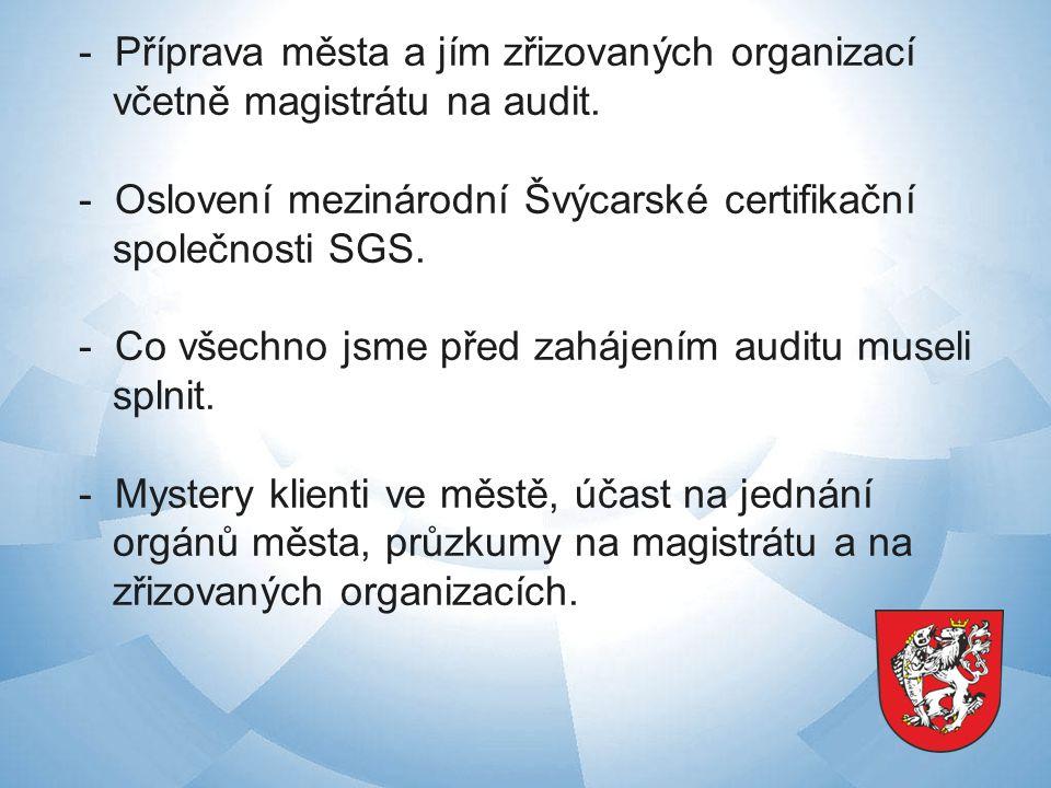 - Příprava města a jím zřizovaných organizací včetně magistrátu na audit.