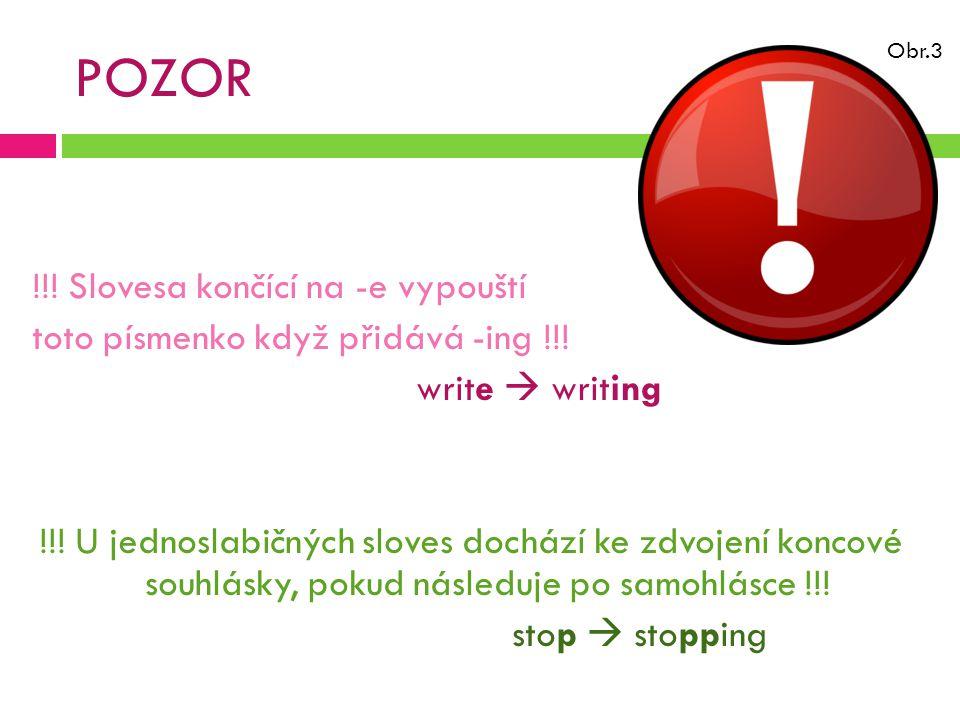 POZOR !!. Slovesa končící na -e vypouští toto písmenko když přidává -ing !!.