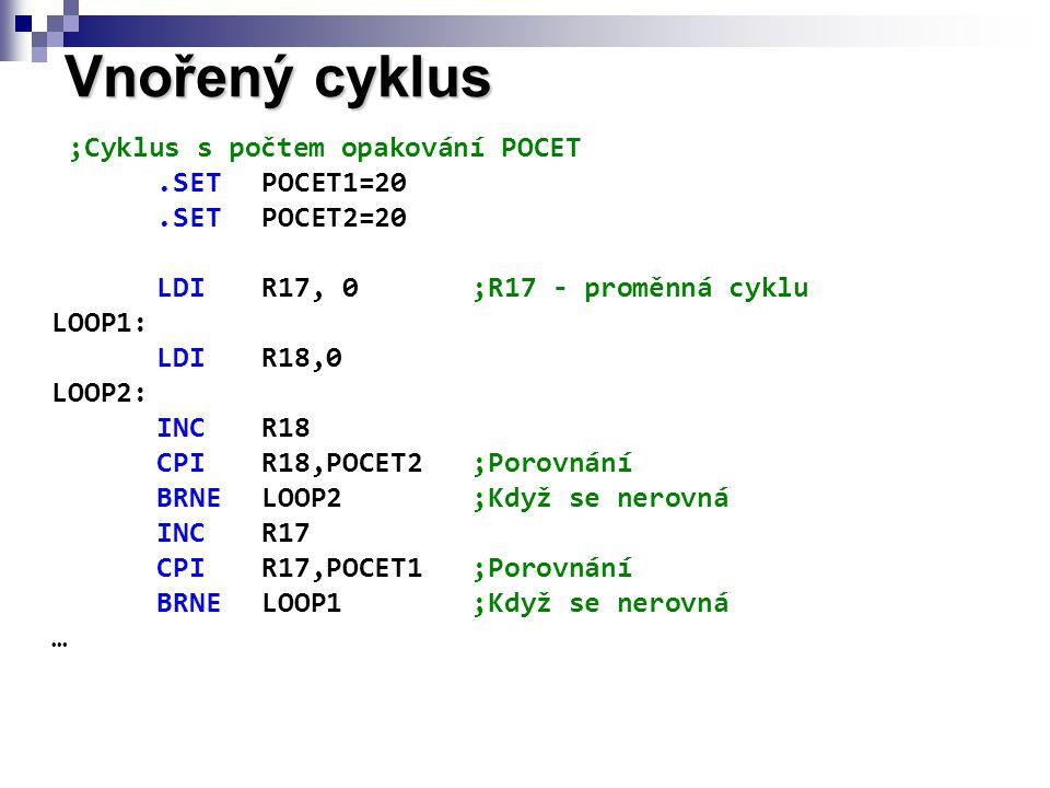 ;Cyklus s počtem opakování POCET.SETPOCET1=20.SETPOCET2=20 LDIR17, 0;R17 - proměnná cyklu LOOP1: LDIR18,0 LOOP2: INCR18 CPIR18,POCET2;Porovnání BRNELOOP2;Když se nerovná INCR17 CPIR17,POCET1;Porovnání BRNELOOP1;Když se nerovná … Vnořený cyklus