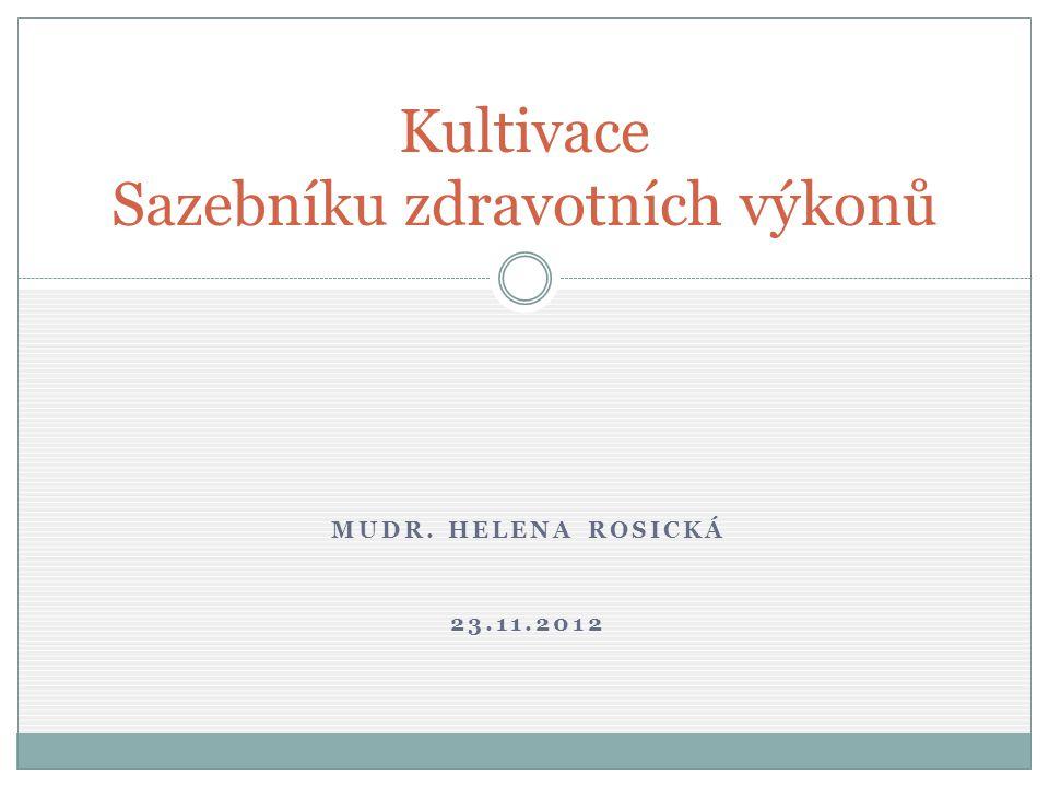 MUDR. HELENA ROSICKÁ 23.11.2012 Kultivace Sazebníku zdravotních výkonů