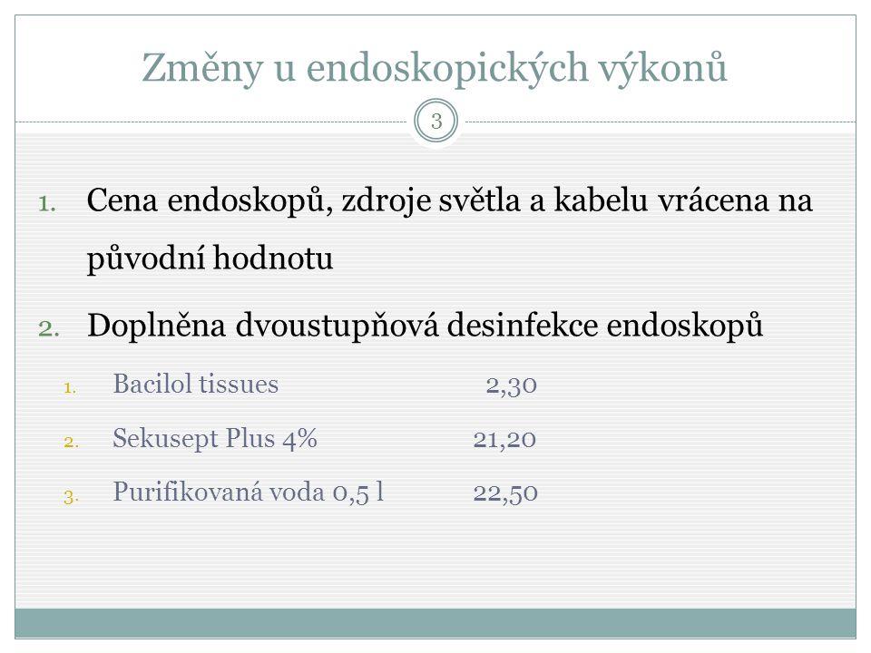 Změny u endoskopických výkonů 1. Cena endoskopů, zdroje světla a kabelu vrácena na původní hodnotu 2. Doplněna dvoustupňová desinfekce endoskopů 1. Ba