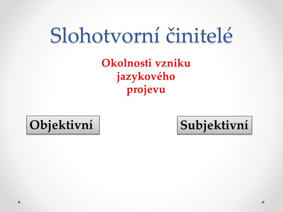 Slohotvorní činitelé Objektivní Subjektivní Okolnosti vzniku jazykového projevu