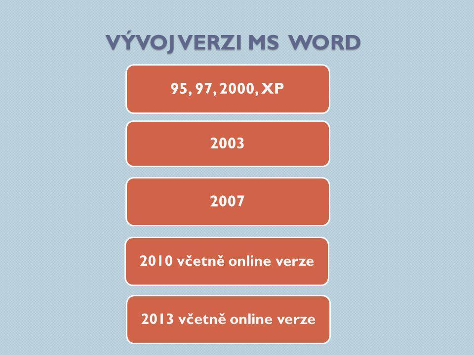 VÝVOJ VERZI MS WORD 95, 97, 2000, XP 2007 2010 včetně online verze 2003 2013 včetně online verze