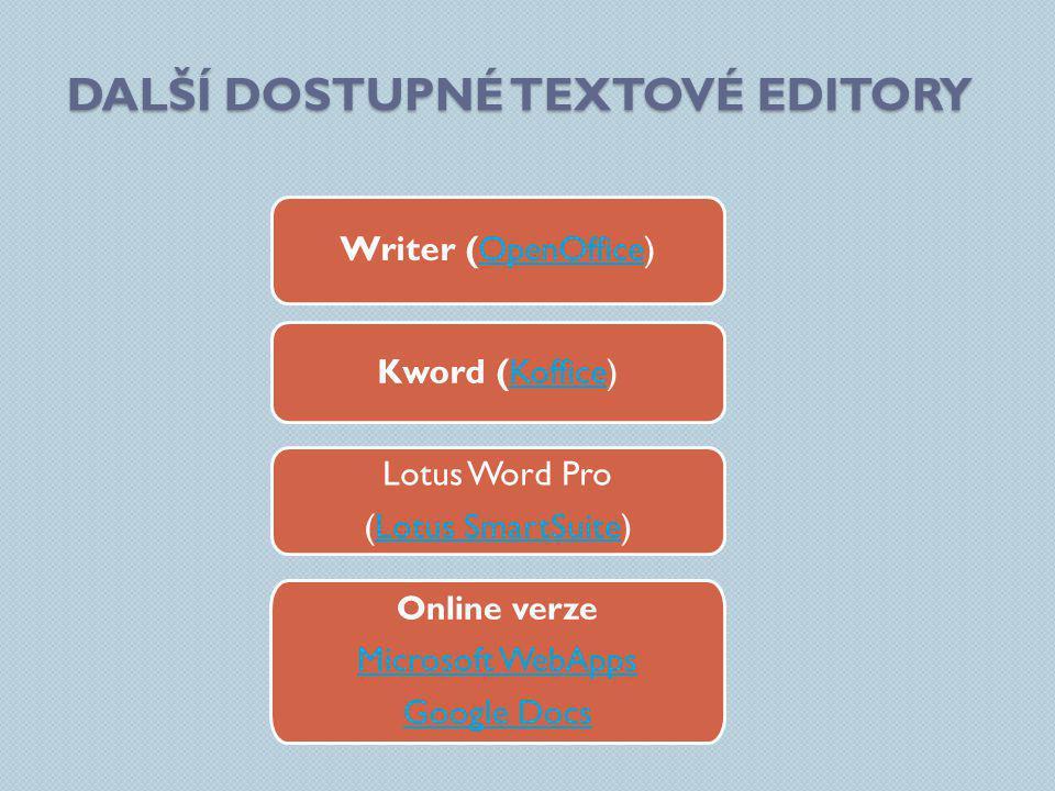 DALŠÍ DOSTUPNÉ TEXTOVÉ EDITORY Writer (OpenOffice)OpenOffice Lotus Word Pro (Lotus SmartSuite)Lotus SmartSuite Online verze Microsoft WebApps Google Docs Kword (Koffice)Koffice