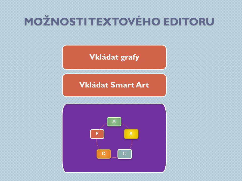 MOŽNOSTI TEXTOVÉHO EDITORU Vkládat grafy Vkládat Smart Art ABCDE