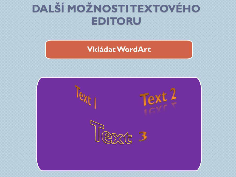 DALŠÍ MOŽNOSTI TEXTOVÉHO EDITORU Vkládat WordArt