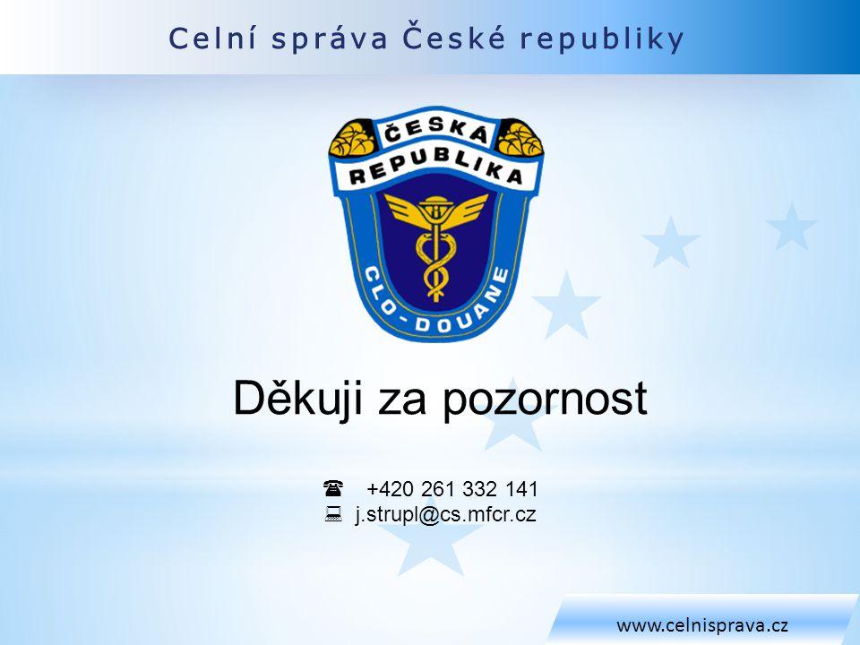 Celní správa České republiky www.celnisprava.cz Děkuji za pozornost  +420 261 332 141  j.strupl@cs.mfcr.cz