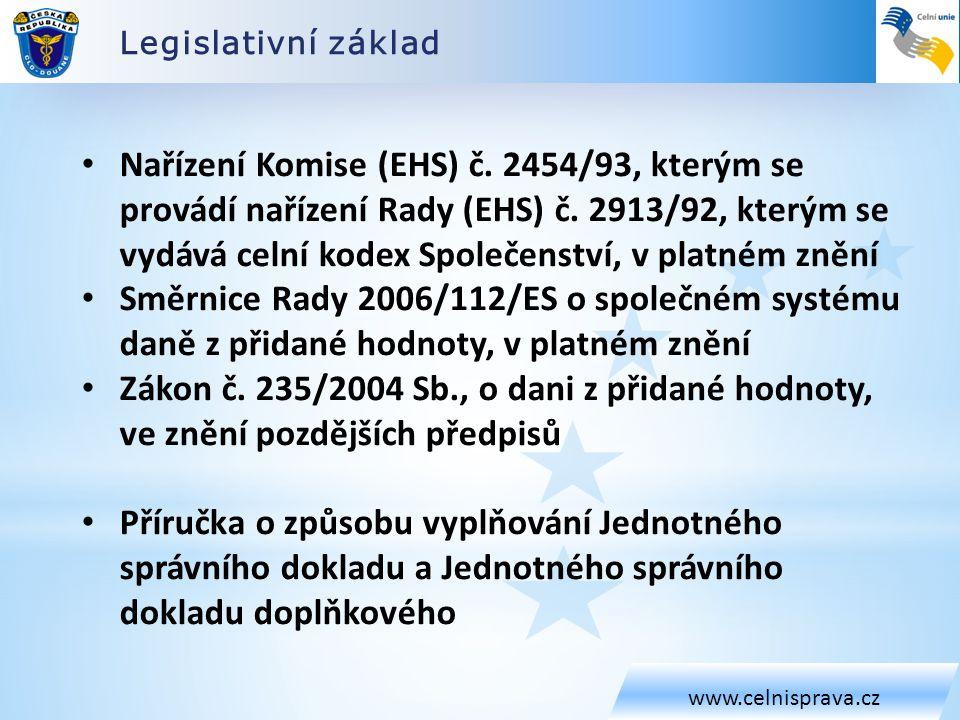 Legislativní základ www.celnisprava.cz Nařízení Komise (EHS) č. 2454/93, kterým se provádí nařízení Rady (EHS) č. 2913/92, kterým se vydává celní kode