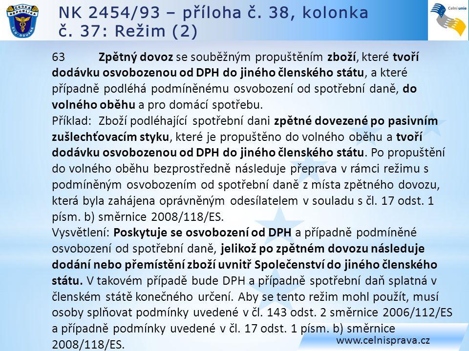 NK 2454/93 – příloha č. 38, kolonka č. 37: Režim (2) www.celnisprava.cz 63 Zpětný dovoz se souběžným propuštěním zboží, které tvoří dodávku osvobozeno