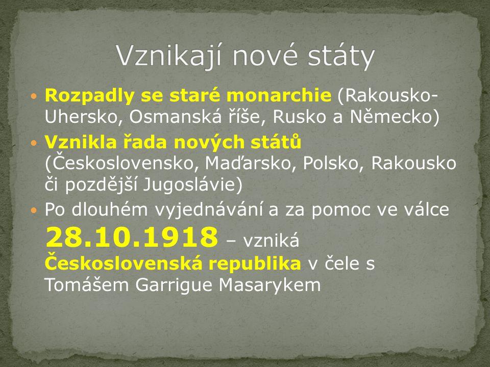 Rozpadly se staré monarchie (Rakousko- Uhersko, Osmanská říše, Rusko a Německo) Vznikla řada nových států (Československo, Maďarsko, Polsko, Rakousko