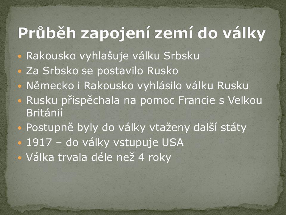 Rakousko vyhlašuje válku Srbsku Za Srbsko se postavilo Rusko Německo i Rakousko vyhlásilo válku Rusku Rusku přispěchala na pomoc Francie s Velkou Brit