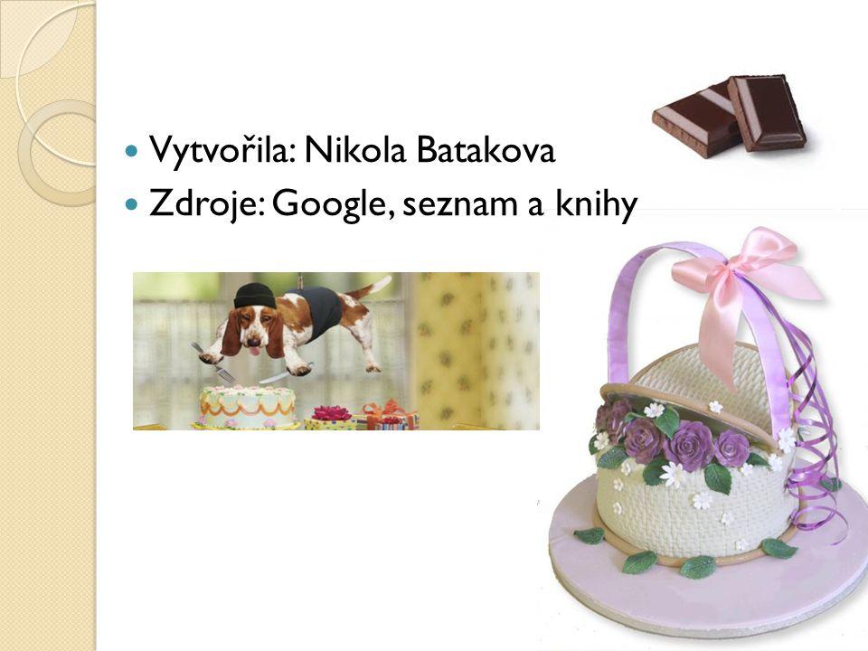 Vytvořila: Nikola Batakova Zdroje: Google, seznam a knihy