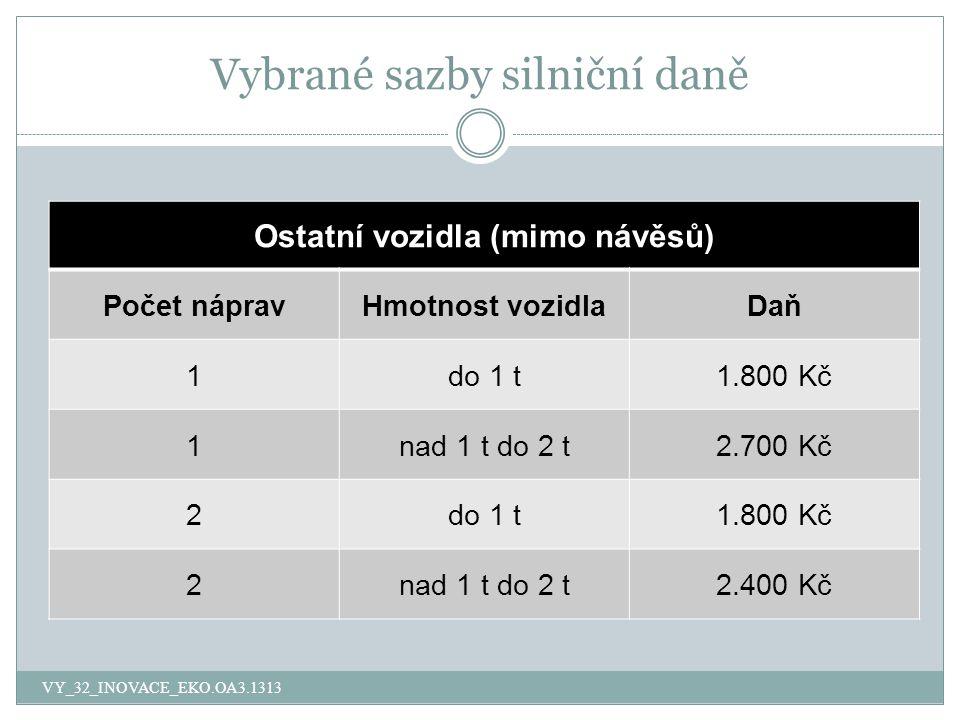 Vybrané sazby silniční daně Ostatní vozidla (mimo návěsů) Počet nápravHmotnost vozidlaDaň 1do 1 t1.800 Kč 1nad 1 t do 2 t2.700 Kč 2do 1 t1.800 Kč 2nad 1 t do 2 t2.400 Kč VY_32_INOVACE_EKO.OA3.1313