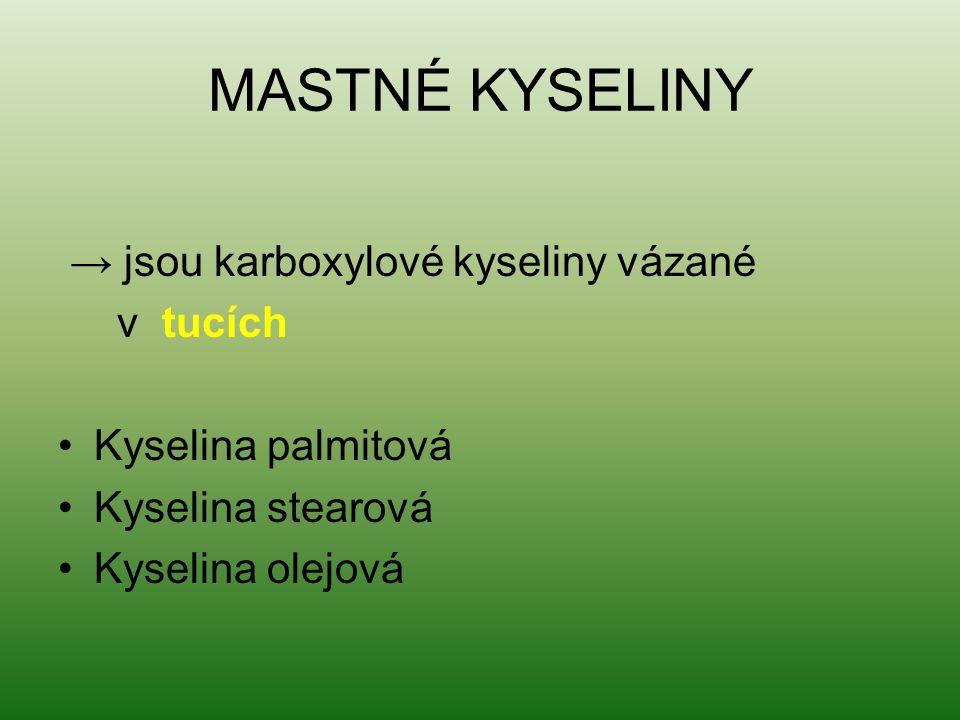 MASTNÉ KYSELINY → jsou karboxylové kyseliny vázané v tucích Kyselina palmitová Kyselina stearová Kyselina olejová