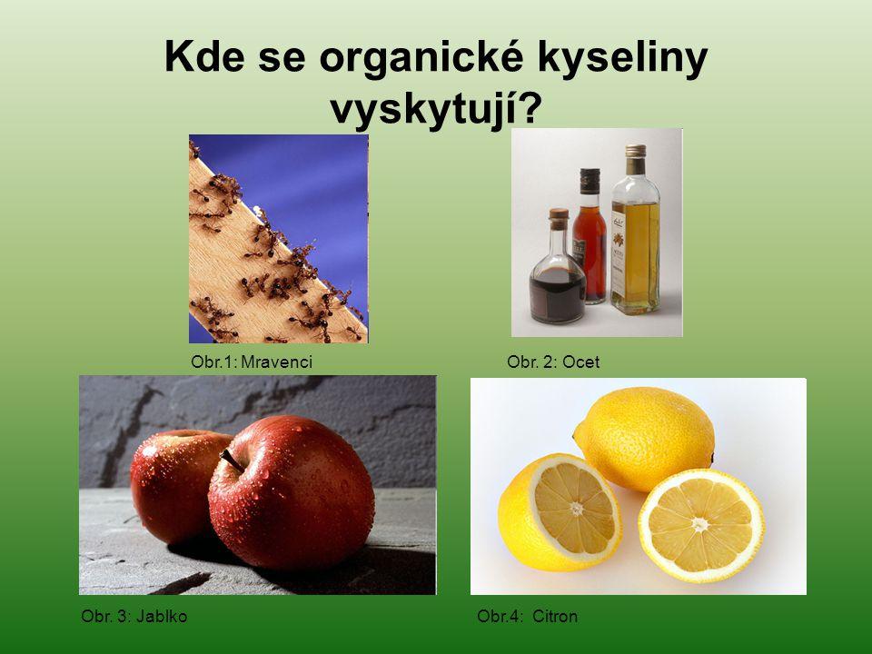 Kde se organické kyseliny vyskytují? Obr. 3: Jablko Obr.4: Citron Obr.1: Mravenci Obr. 2: Ocet