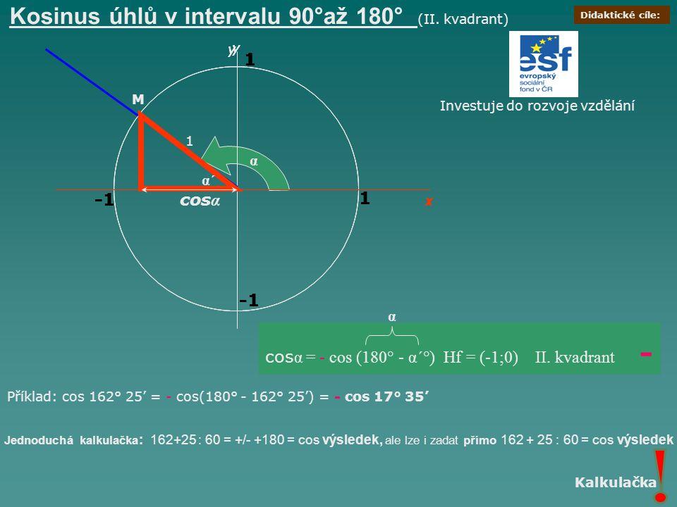 x y 1 1 Kosinus úhlů v intervalu 90°až 180° (II. kvadrant) x y 1 1 M cos α = - cos (180° - α´°) Hf = (-1;0) II. kvadrant - 1 1 y 1 y 1 y 1 x 1 α 1 cos