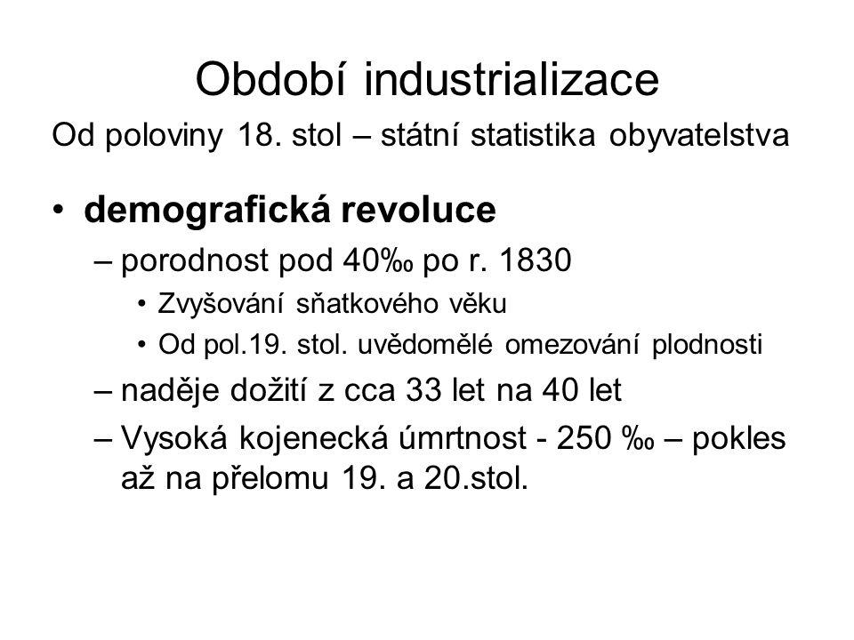 Období industrializace Od poloviny 18. stol – státní statistika obyvatelstva demografická revoluce –porodnost pod 40‰ po r. 1830 Zvyšování sňatkového