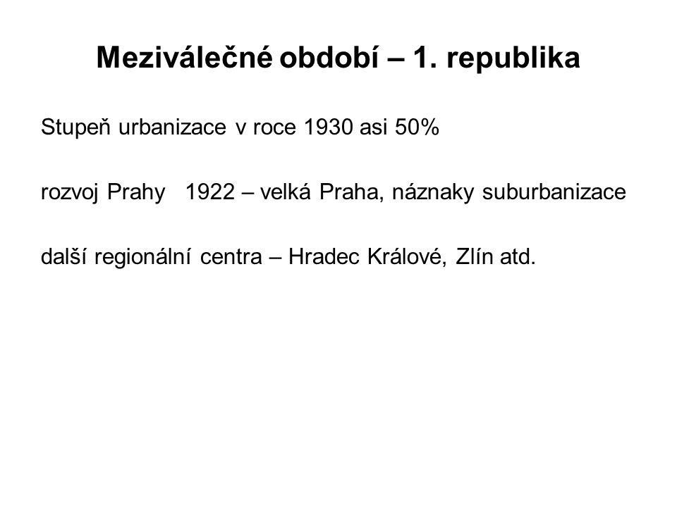 Meziválečné období – 1. republika Stupeň urbanizace v roce 1930 asi 50% rozvoj Prahy 1922 – velká Praha, náznaky suburbanizace další regionální centra