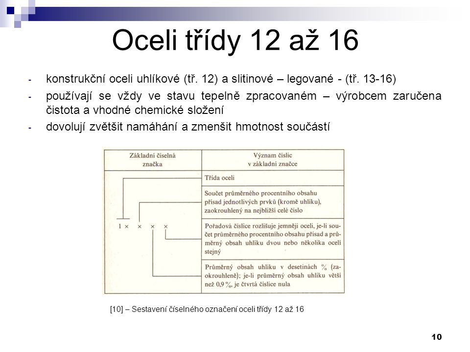 10 Oceli třídy 12 až 16 - konstrukční oceli uhlíkové (tř. 12) a slitinové – legované - (tř. 13-16) - používají se vždy ve stavu tepelně zpracovaném –