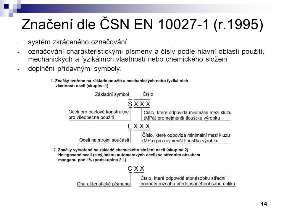 14 Značení dle ČSN EN 10027-1 (r.1995) - systém zkráceného označování - označování charakteristickými písmeny a čísly podle hlavní oblasti použití, me