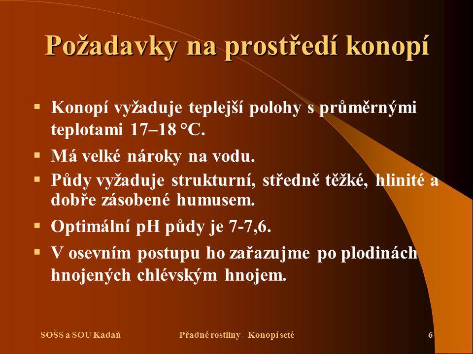 SOŠS a SOU KadaňPřadné rostliny - Konopí seté6 Požadavky na prostředí konopí  Konopí vyžaduje teplejší polohy s průměrnými teplotami 17–18 °C.