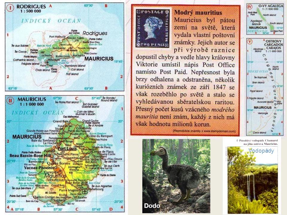 MAURITIUS Plocha 720 čtverečných mil, hlavní město Port Louis (šířka 20°09´ S, délka 57°29´ E) Je to hornatý ostrov vulkanické formace. Břehy jsou ost