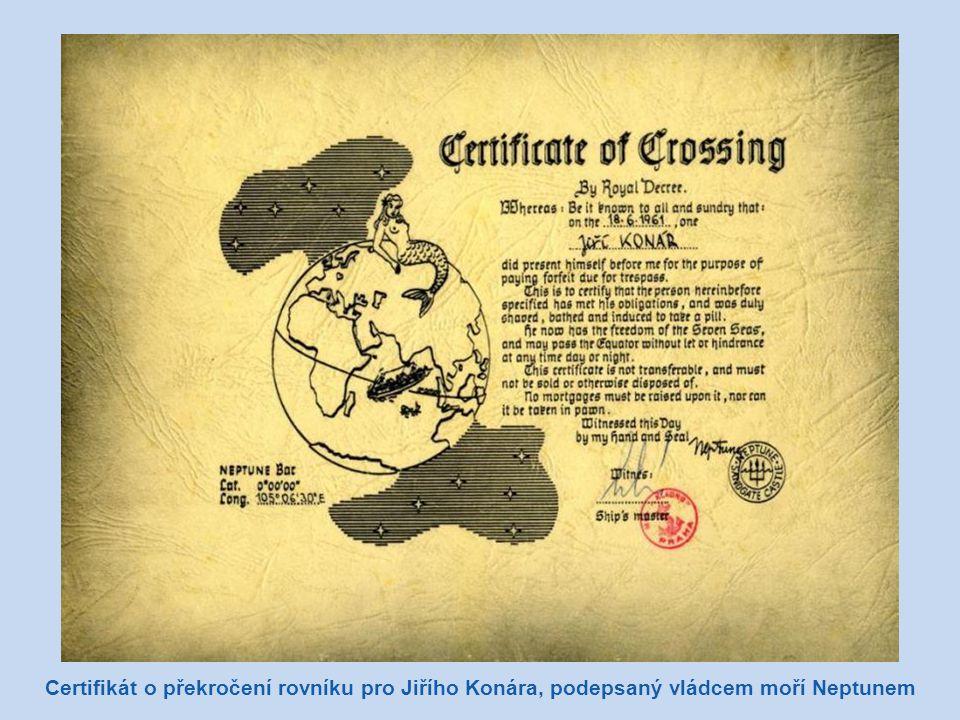 Certifikát o překročení rovníku pro Jiřího Konára, podepsaný vládcem moří Neptunem