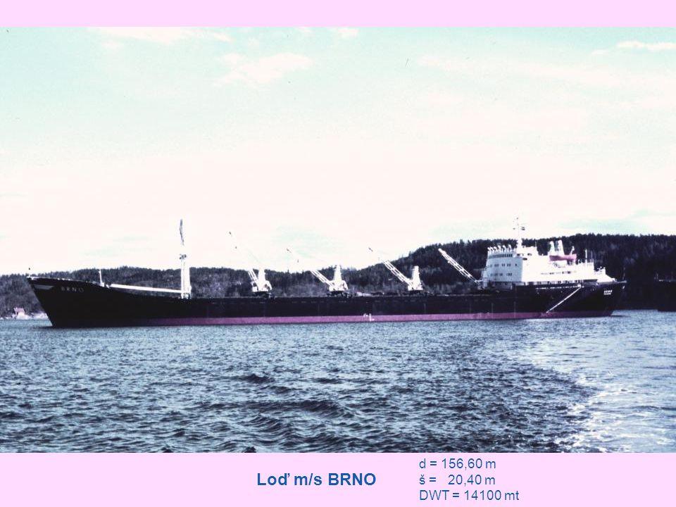 """Loď """"m/s BRNO na bójích v přístavu Port Louis"""