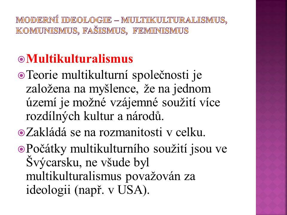  Multikulturalismus  Teorie multikulturní společnosti je založena na myšlence, že na jednom území je možné vzájemné soužití více rozdílných kultur a národů.