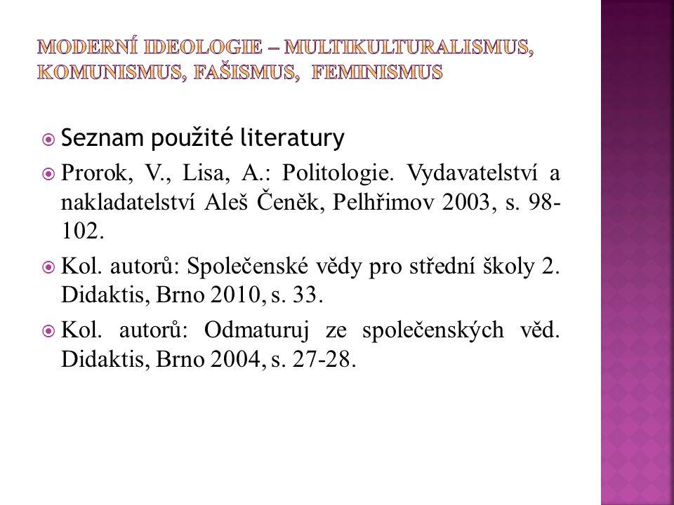  Seznam použité literatury  Prorok, V., Lisa, A.: Politologie. Vydavatelství a nakladatelství Aleš Čeněk, Pelhřimov 2003, s. 98- 102.  Kol. autorů: