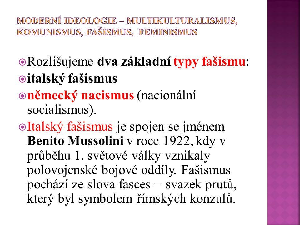  Rozlišujeme dva základní typy fašismu:  italský fašismus  německý nacismus (nacionální socialismus).  Italský fašismus je spojen se jménem Benito