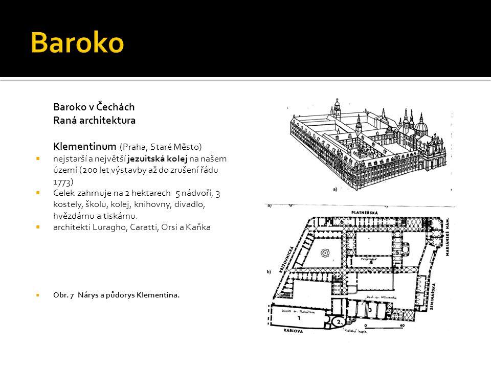 Baroko v Čechách Raná architektura Klementinum (Praha, Staré Město)  nejstarší a největší jezuitská kolej na našem území (200 let výstavby až do zruš